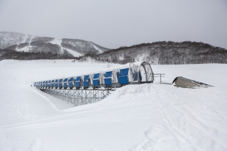 Moving walkway in ski resort in Hokkaido, Japan photo