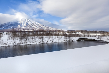 View of snow mountain at Mt.Yotei, Hokkaido, Japan