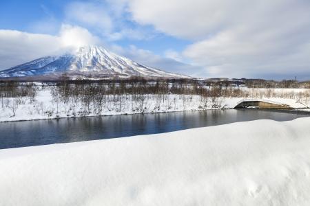 View of snow mountain at Mt.Yotei, Hokkaido, Japan