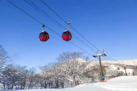 Cable car at ski resort in Hokkaido, Japan Stock Photo