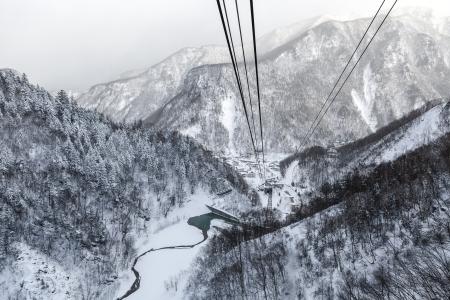 ropeway: Aerial view of the winter from ropeway, Hokkaido, Japan Stock Photo