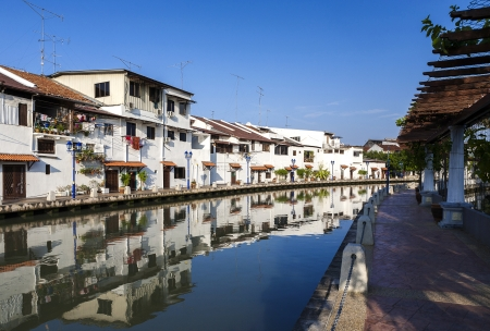 dwell house: Malacca city with house near river under blue sky in Malaysia Stock Photo