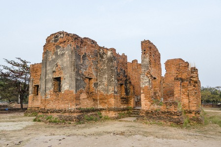 historic site: Historic site at  Wat Phra Si Sanphet A temple in the ancient palace Ayutthaya, Thailand