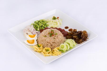 Fried rice with Shrimp paste, Thai style food photo
