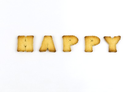 Happy wording by a b c biscuit Stock Photo