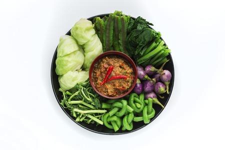 chili sauce: Thai cuisine nam prik or chili paste with various vegetables Stock Photo
