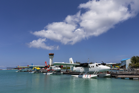 hydroplane: Male Maldives - June 14, 2015 : Seaplane harbor of any Maldivian airways operating out of Ibrahim Nasir airport in Male, Maldives, provides services to several island resorts Editorial