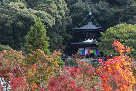 KYOTO, JAPAN - 20 NOVEMBER 2015: Eikando pagoda against autumn foliage in Eikan-do Zenrinji temple in Kyoto, Japan. This place is very famous for its autumn colors foliage