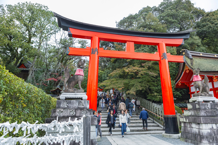 KYOTO, JAPAN - 19 NOVEMBER 2015: Japanese people and tourists at Fushimi Inari Shrine. This place is one of the top tourist attraction point in Kyoto Japan