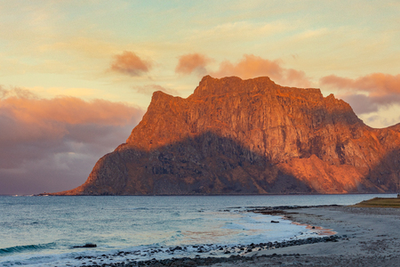 View in evening sunlight at Uttakleiv Beach, This place is the most popular photographed in Leknes, Lofoten island, Norway