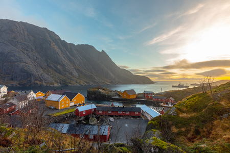 Nusfjord  fishing village in Flakstad municipality in Nordland county, Norway. The village lies on the southern shore of the island of Flakstadoya, Lofoten islands Stock Photo