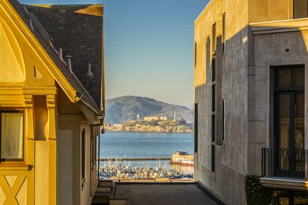 san francisco bay: View of Alcatraz Island in San Francisco Bay Stock Photo
