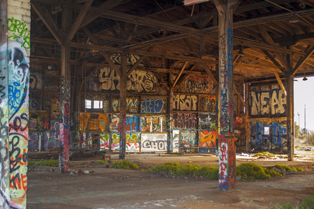 abandoned warehouse: Abandoned Warehouse Building covered in Graffiti Art