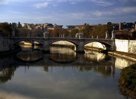tiber: Bridge over Tiber, Rome Stock Photo