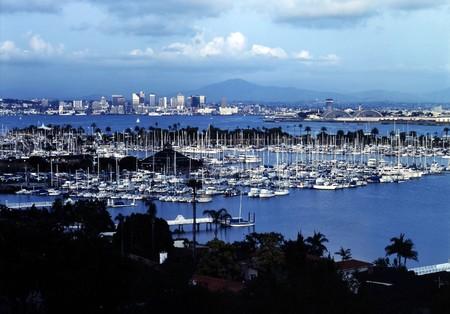 san   diego: San Diego with Shelter Island Stock Photo