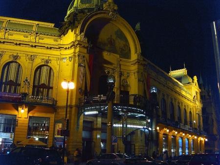 municipal: Night view of Municipal Building  in Prague