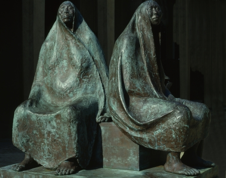 bronz: Sculpture of Francisco Zuniga   Mother and daughter seated  Editorial