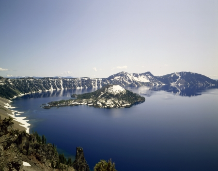 Crater Lake and Wizard Island in Oregon photo