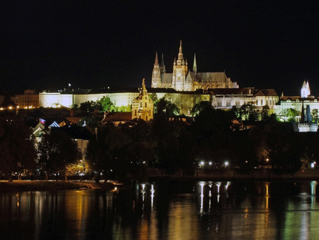 vltava: Night view of Prague castle and river Vltava