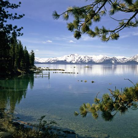 lake tahoe: Lake Tahoe with snowy mountains in California