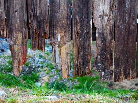 desolate: Old desolate wooden  village fence Stock Photo