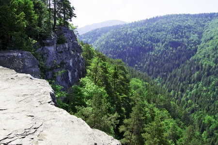 View from cliff in Slovak Paradise Stock Photo