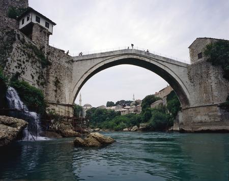 rive: Bridge in Mostar, Bosnia-Herzegovina Stock Photo