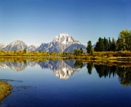 oxbow: Mt.Moran and Oxbow Bend in Wyoming Stock Photo