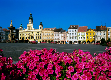 budejovice: Main Square in Ceske Budejovice, Czech Republic
