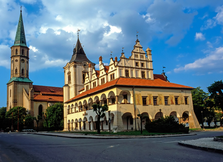town hall: Old Town Hall and St.James church ,Levoca, Slovakia