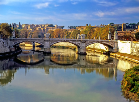 tiber: River Tiber in Rome, Italy