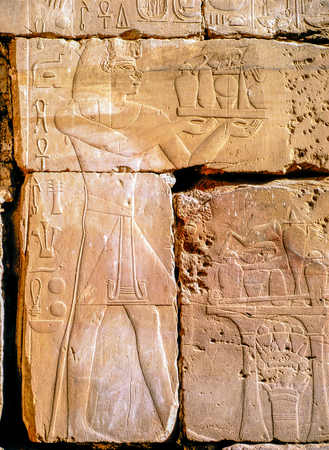 Egyptian hieroglyphs and relief in  Luxor 写真素材