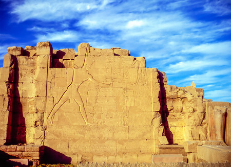 Relief on wall of temple in Luxor 写真素材
