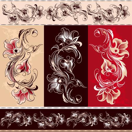 Decoratieve Floral Ornament Elementen