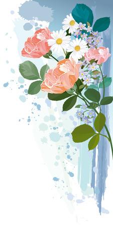 Boeket bloemen op Grunge Achtergrond