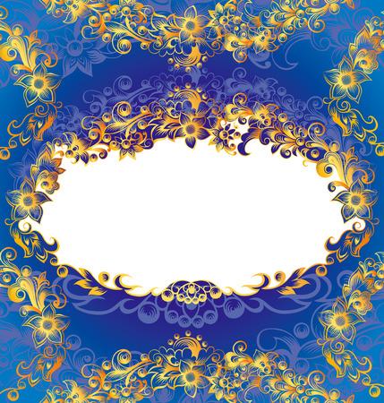 Decorative Blue Floral Frame Stock Vector - 3609401