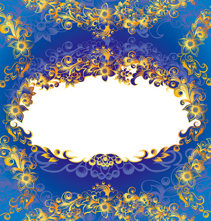 Decorative Blue Floral Frame Illustration