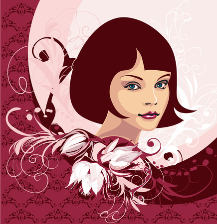 Vrouw gezicht op de achtergrond van de bloemen  Stock Illustratie