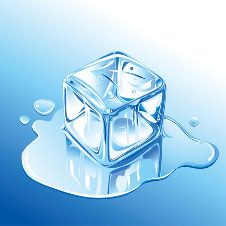 Melting Blue Ice Cube Vector
