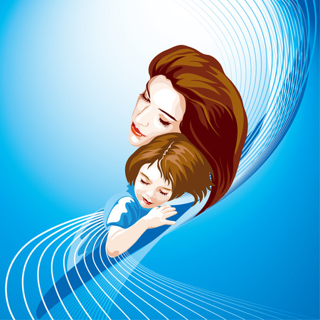 sleeping child: Mother And Daughter Illustration