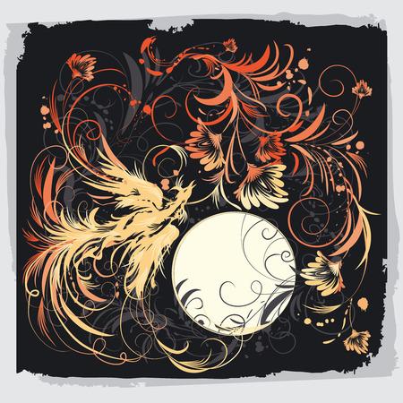 f�nix: Phoenix ave con flores