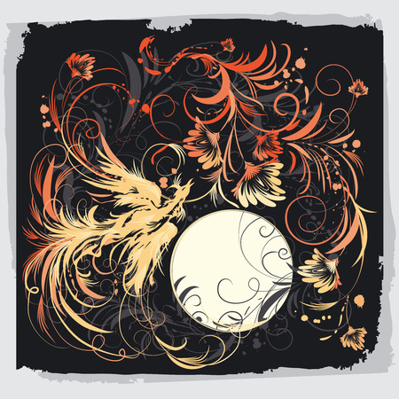 Phoenix Bird Met Bloemen Stock Illustratie