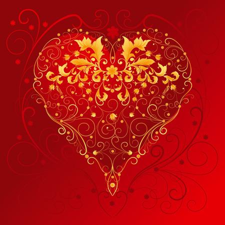 Decorative Red Heart Illusztráció