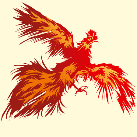 morning  cock: Flying Red Rooster