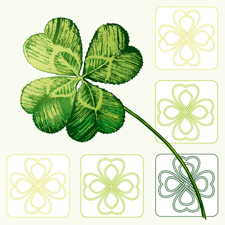 clover leaf shape: Four-leaved Cloverleaf, Shamrock Illustration