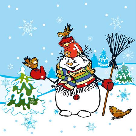 Funny Snowman Scene Vector