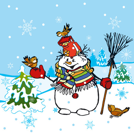 winter scene: Funny Snowman Scene Illustration