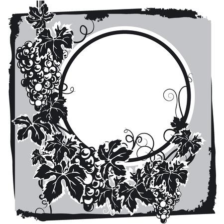 Druiven met blad Label Stock Illustratie