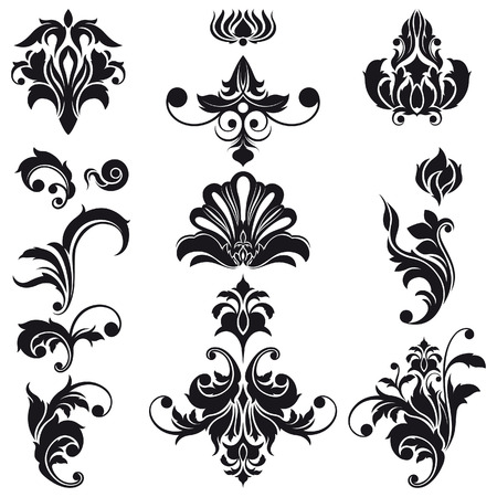 barok ornament: Decoratieve Floral Design Elements Stock Illustratie