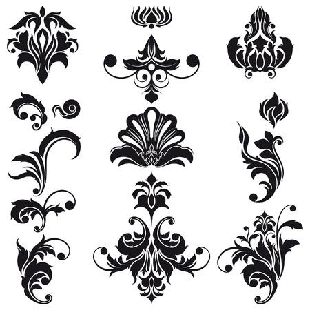 barocco: Floral Design Elementi decorativi Vettoriali